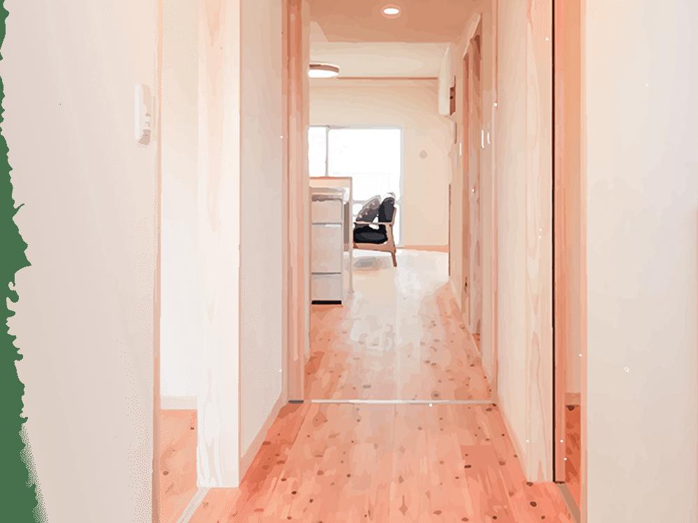 木質リノベーションを行った玄関の写真