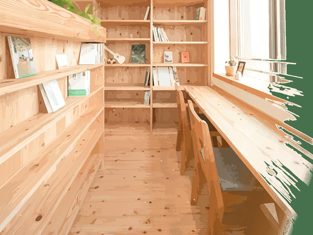 耳納杉で作られた書斎