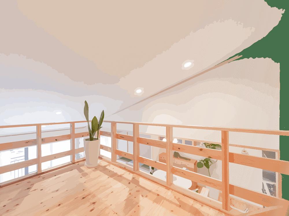 耳納杉で作られた室内のベランダ
