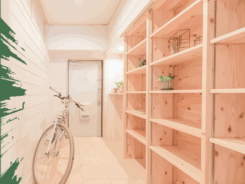 造作で作られた玄関の棚